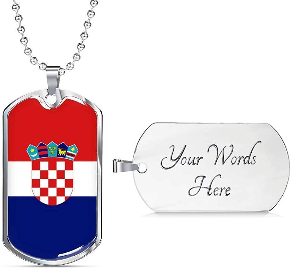 Croatia Flag Love My Country Handmade Necklace Stainless Steel or 18k Gold Dog T