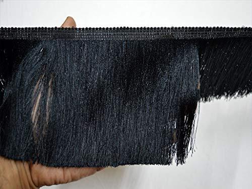 Fringe Black Brush (5 Inch Wide Wholesale Black Tassels Boho Fringe Trim by 9 Yard Home Decor Craft Supplies Decorative Brush Gypsy Bohemian Ethnic Fringed Embellishment Sewing Crafting Ribbon)