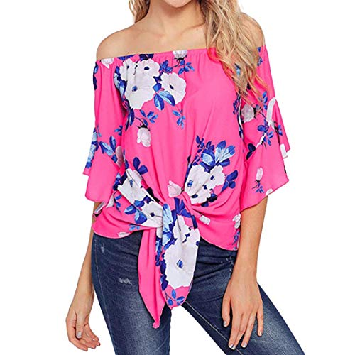 - Clearance Sale!Blouse Women's 3/4 Bell Print Sleeve Off Shoulder Front Tie Knot T Shirt Tops Blouse ❤️ ZYEE