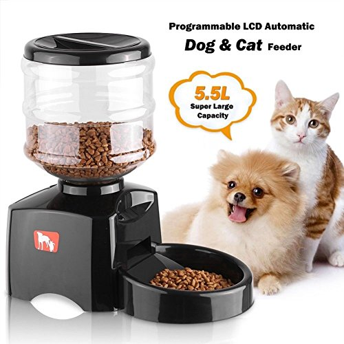 Pet Self Feeders by Feiuruhf,5.5l Automatic Pet Feeder With Voice Message Recording and LCD Screen Dogs Cats Food Bowl Dispenser,Electronic Control Feeder,Smart Feed for Dogs and Cats
