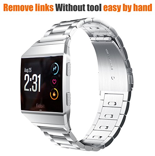 EloBeth for Fitbit Ionic Bands, Stainless Steel Strap(Move Links by Hand)for Fitbit Ionic Watch (Silver)