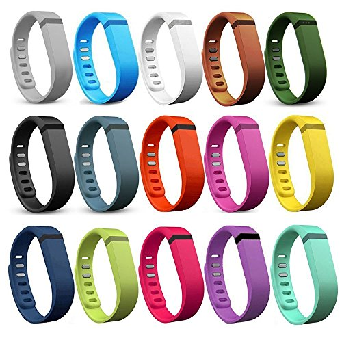 I SMILE 15PCS Replacement Bands with Metal Clasps for Fitbit Flex / Wireless Activity Bracelet Sport Wristband(No tracker, Replacement Bands Only)