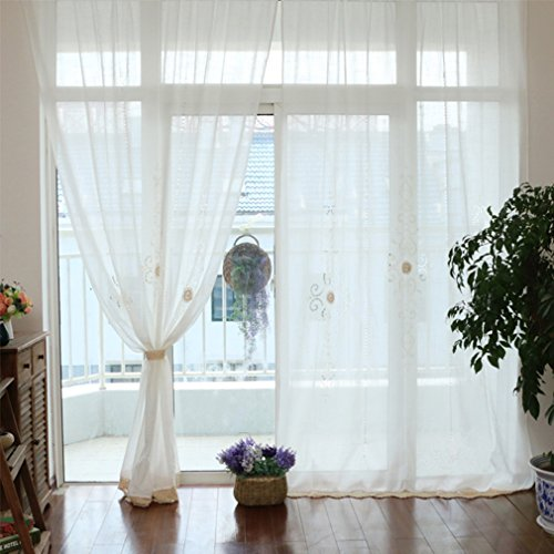 ZHH Handmade Embroidered Openwork Panels 59 by 70-inch Cord Crochet Curtain,Polyester White Sheer