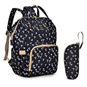 Qimiaobaby Diaper Bag Nappy Bag Travel Backpack Waterproof Multi-Function Mommy Bag for Baby Care Large Capacity Stylish and Durable Perfect for Travel Work or Outing (Black Flower)