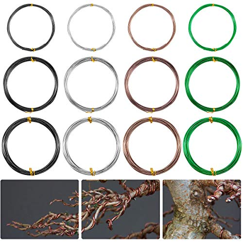 Alphatool 12 Rolls Aluminium Bonsai Coaching Wires- 196 Toes four Colour Tree Coaching Wire Set with three Dimension Corrosion&Rust Resistant (1.0mm, 1.5mm, 2mm) for Bonsai Tree, DIY Crafts Making and Ornament