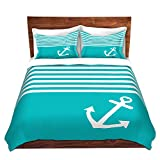 DiaNoche Designs Organic Saturation Teal Love Anchor Nautical Brushed Twill Home Decor Bedding Cover, 2 Twin Duvet Only 68'' x 90''