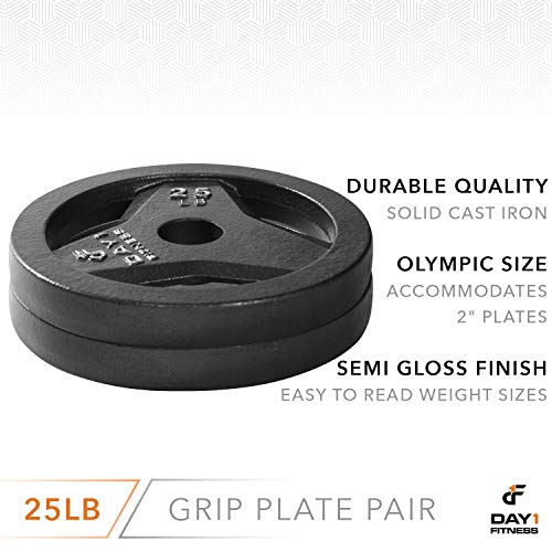 "Day 1 Fitness Cast Iron Olympic 2-Inch Grip Plate for Barbell, 25 Pound Set of 2 Plates Iron Grip Plates for Weightlifting, Crossfit - 2"" Weight Plate for Bodybuilding by Day 1 Fitness (Image #2)"