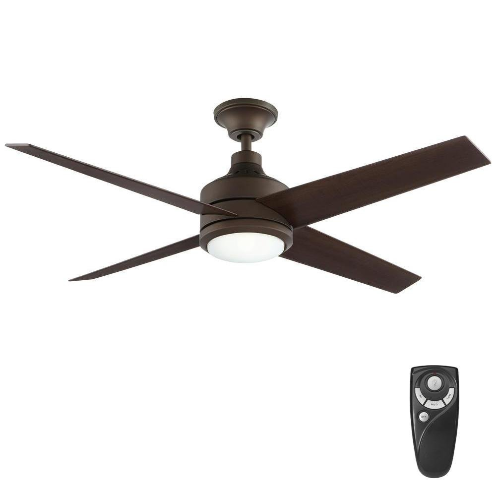 Home Decorators Collection Mercer 52 in. Integrated LED Indoor Oil Rubbed Bronze Ceiling Fan with Light Kit and Remote Control