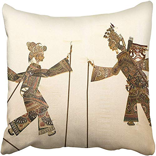 (Throw Pillow Covers 20 X 20 Inches Puppet Figures Shadow Play on Wall Show Indonesia Asia Asian Marionette Natural Pillow Case Decorative Cushion Cover Two Sides Print Pillowcase)