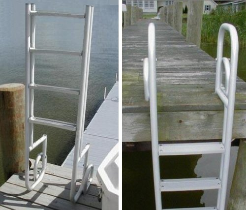 4 Step Heavy Duty Anodized Aluminum Swimming Pool Dock Ladder FLIP UP ()