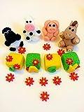 Edible sitting farm animals name blocks set (any name) cake toppers (2x2)