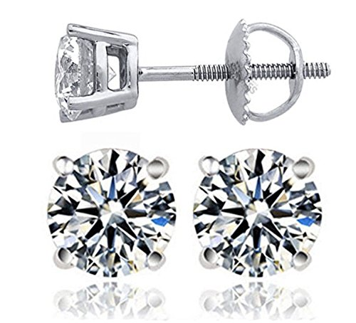 Venetia Realistic Top Grade Hearts & Arrows Cut Simulated Diamond Solitaire Earrings Earstuds Screw Back 925 Silver 1.5 3 Carat cz cubic zirconia E7mrd