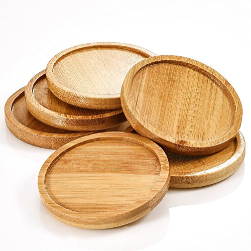 Autrix 3.35 Inch Bamboo Plant Saucer Round Plant Pot Tray for Indoor and Outdoor Plants, 6 Pack