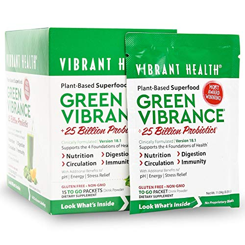 Vibrant Health - Green Vibrance, Plant-Based Superfood to Support Immunity, Digestion, and Energy with Over 70 Ingredients, 25 Billion Probiotics, Gluten Free, Non-GMO, Vegetarian, 15 Packets(FFP) (Best Foods For Immunity)