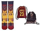 Forever Fanatics Cleveland James #23 Ultimate Basketball Fan Gift Set Bundle ✓ James #23 Stiched Crew Socks Sizes 6-13 ✓ James #23 Picture Backpack (Size 6-13, James #23 Gift Set)
