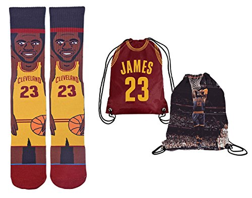 Forever Fanatics Cleveland James #23 Ultimate Basketball Fan Gift Set Bundle ✓ James #23 Stiched Crew Socks Sizes 6-13 ✓ James #23 Picture Backpack (Size 6-13, James #23 Gift Set)