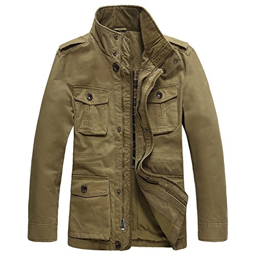 JYG Men's Casual Military Windbreaker Jacket Cotton Stand Collar Field Coat,Khaki-0879,US Large