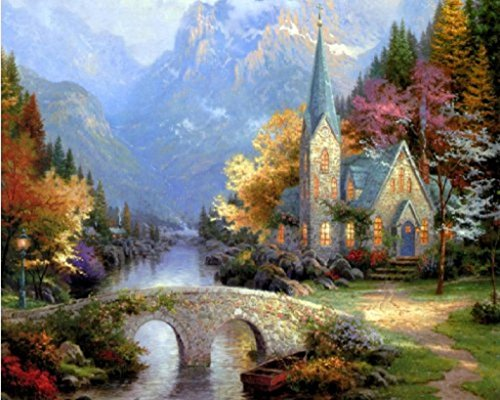 (Thomas Kinkade The Mountain Chapel-DIY Paintng by number kits High Quality Oil painting On Canvas Home Wall Decor Frameless 16x20 inch Exotic)