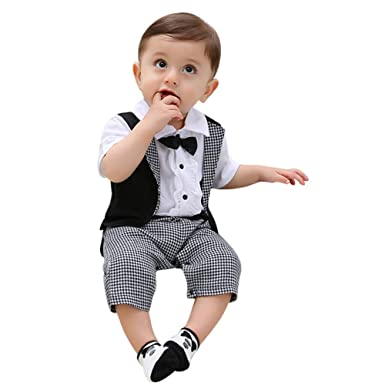 6d9d04f6d0eba Baby Boy Suit, Gentleman Infant Boys Short Sleeve Rompers Jumpsuits Outfit  Onesie with Bow tie