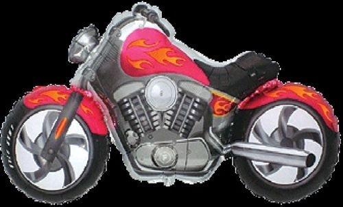 LoonBalloon MOTORCYCLE Harley Davidson Hog Bike PINK Orange Flames 45