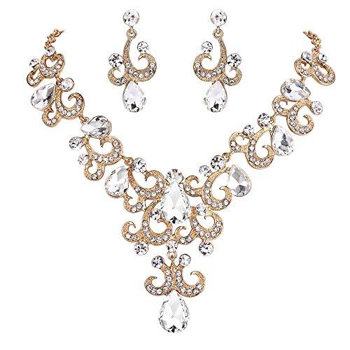 BriLove Women's Wedding Bridal Crystal Floral Filigree Vine Teardrop Statement Necklace Dangle Earrings Set Clear Gold-Tone -