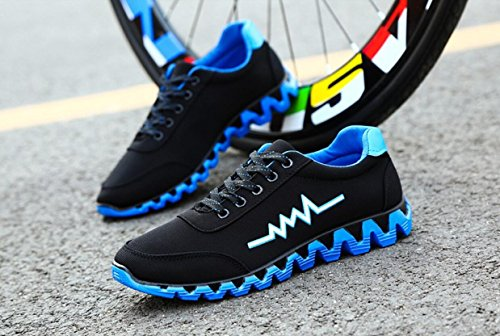 Elwow Men's Super Light Breathable Sports Running Shoes, Trainers Athletic Walking Hiking Gym Sneakers Black with Blue