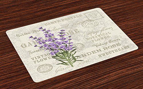 (Lunarable Lavender Place Mats Set of 4, Vintage Postcard Composition with Grunge Display and Flowers, Washable Fabric Placemats for Dining Room Kitchen Table Decoration, Lavender Reseda Green Beige)