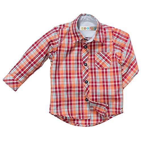 y Boys' Plaid Button Down Shirt (24 Months, Red) ()