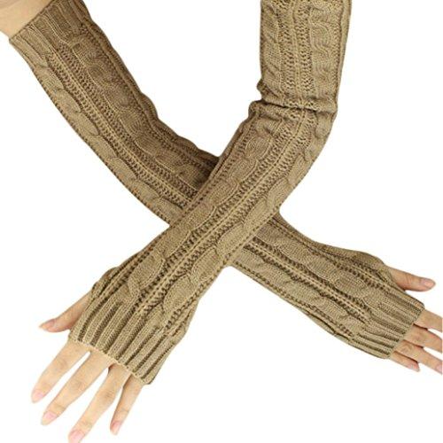 - Hot Sale!!! Women's Gloves,Jushye Ladies Fashion Winter Hemp Flowers Fingerless Knitted Long Gloves (Khaki)