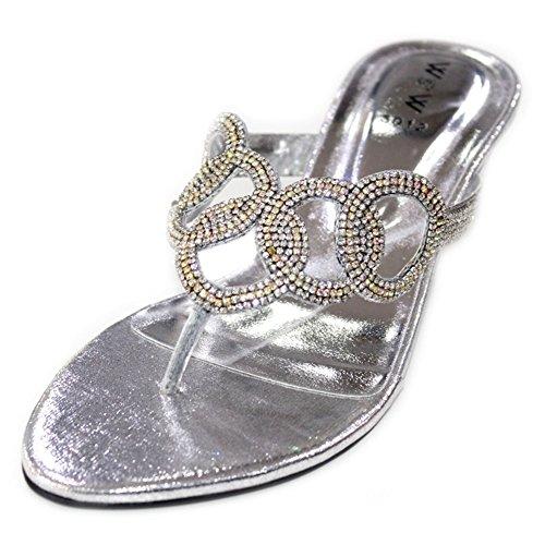 Wear & Walk UK - Sandalias de vestir de Material Sintético para mujer 36.5 plata