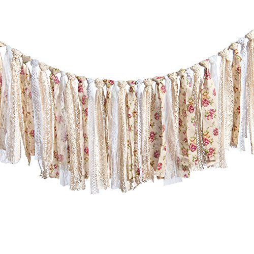 (Ling's moment Rag Garland Yarn Tassel Garland Banner Burlap Lace Tassel Garland Floral Print Decor Rustic Wedding Event Party Supplies Shabby Chic Banner 3-6 FT )