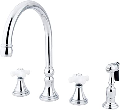 Kingston Brass Ks2791pxbs Governor Deck Mount Kitchen Faucet With Brass Sprayer 8 1 4 Inch Polished Chrome Touch On Kitchen Sink Faucets Amazon Com