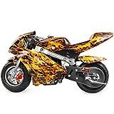 XtremepowerUS Mini Pocket Motorcycle Gasoline Bike Motorcycle 40cc 4-Stroke EPA Engine Seat Padded (Yellow Flame)