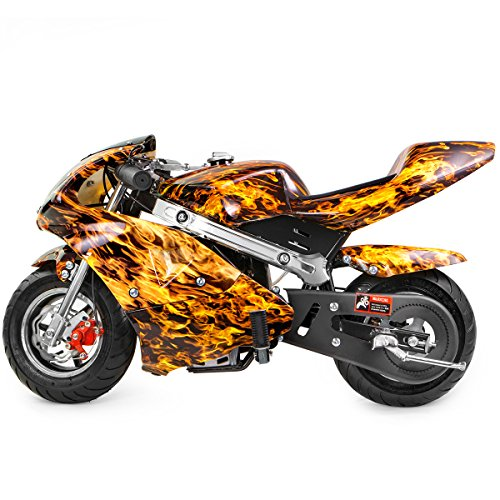 XtremepowerUS Mini Pocket Motorcycle Gasoline Bike Motorcycle 40cc 4-Stroke EPA Engine Seat Padded (Yellow Flame)