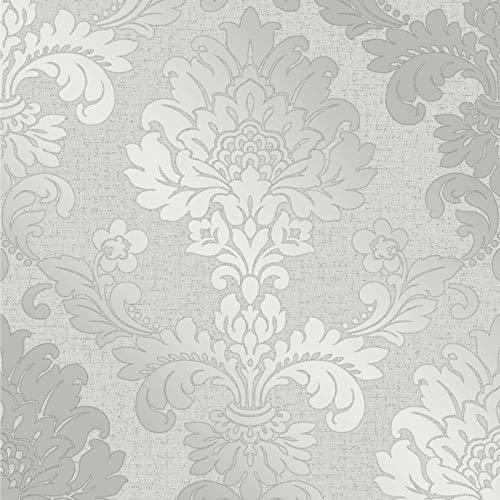 Fine Décor FD41965 Quartz Damask Wallpaper, Silver