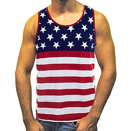 WKDYBD Tank Tops Mens American Flag Stripes and Stars Tank Top Shirt Slim Fit Muscle Loose Tees Tops Red