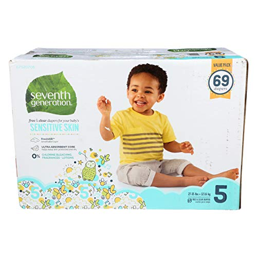 SEVENTH GENERATION Diapers Size 5 Value Pack, 69 CT