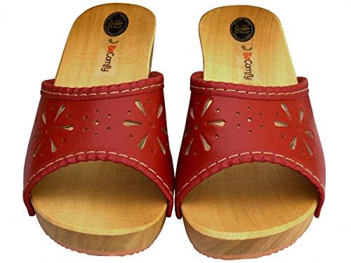 BeComfy Damen Clogs Holzschuhe Leder Holz Pantoletten mit Absatz Sandalen Bunte Farben Modell VK10 Rot