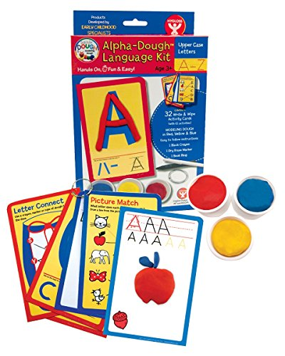 Hygloss Products, Play Dough Language Kit, Upper Case Letters A-Z, 32 Write & Wipe Cards with (Language Development Kit)