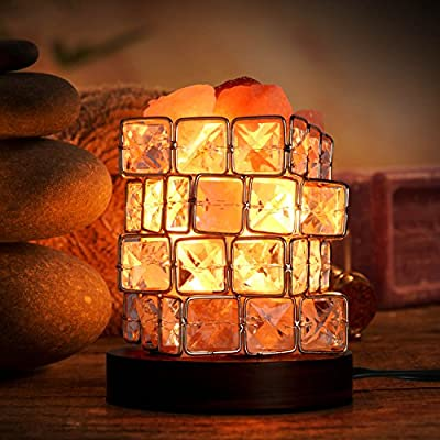 Himalayan Salt Lamp Natural Crystal Decor Rock lamp (5-8inch, 3-5lbs) with 3x15W Bulbs, Dimmer Control, Rubber Wood Base for Air Purifying, Bedroom Lighting