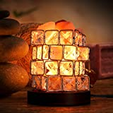 Salt Lamp, Natural Himalayan Crystal Rock Salt Lamps, Cube Night Light on Wooden Base with Dimmer Control for Air Purifying, Bedroom Lighting