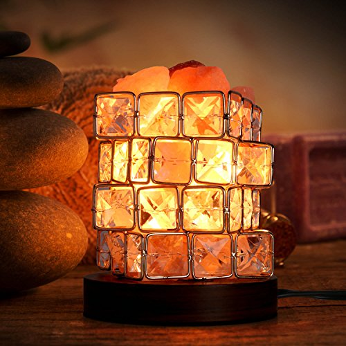 Salt Lamp, Natural Himalayan Crystal Rock Salt Lamps,OXA Smart, Cube Night Light on Wooden Base with Dimmer Control for Air Purifying, Bedroom Lighting