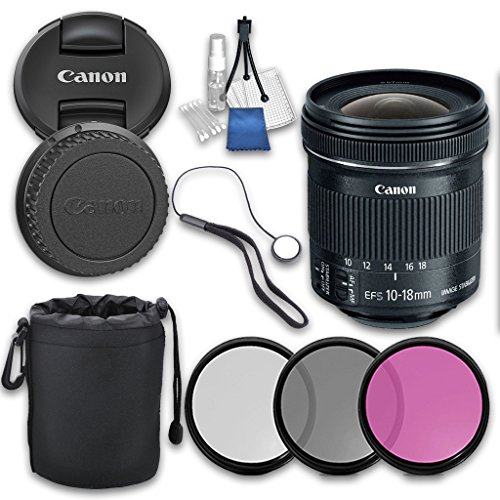 Canon EF-S 10-18mm f/4.5-5.6 IS STM Lens with Grace Photo Accessories Kit - International Version