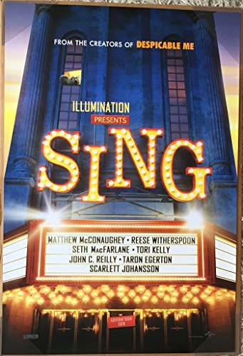 Sing Movie Poster 2 Sided Original Adv Scarlett Johansson Taron Egerton