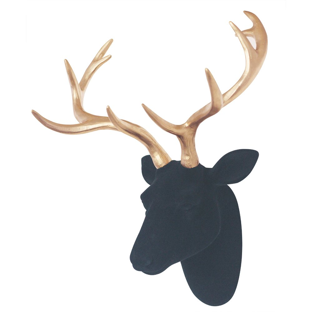 Deer Head Wall Decor 3D Wall Hanging Black Fake Furry/Felt/Velvet Deer Head With Gold Antlers Wall Decoratiion 16'' x 12.5'' x7.5'' by Smarten Arts
