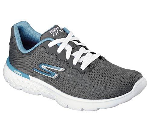 Skechers Performance Women's Go Run 400 Action Running Shoe, Charcoal/Blue, 11 M US