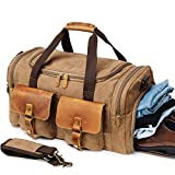 Canvas Duffle Bag Overnight Bags for Men Weekend Travel Duffel Weekender Bags for Women Canvas Leather Gym Travel Shoulder Tote Carry On Luggage Large with Shoes Compartment, College Student Gift