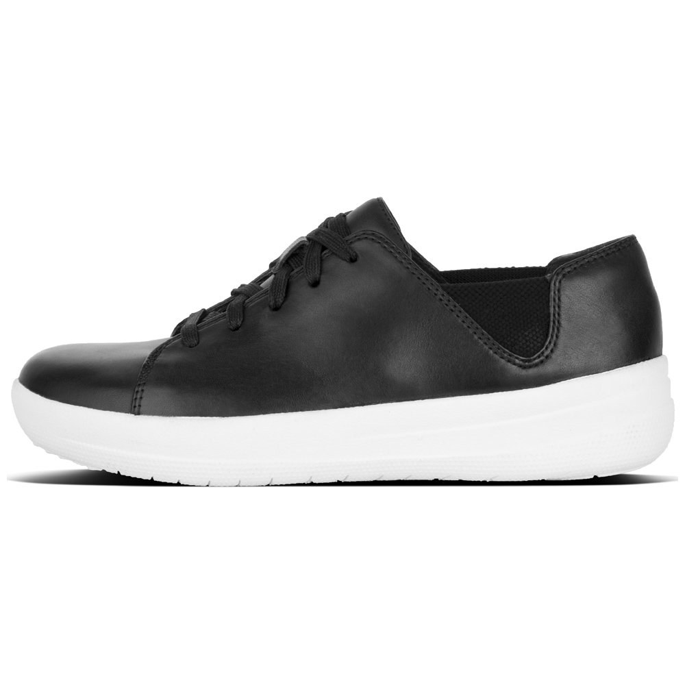 FitFlop Womens F-Sporty Leather Trainers 38 EU|Negro (Black 001)