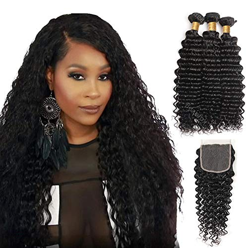 Mqyq #27 Honey Blonde 3 Bundles Malaysian Curly Human Hair With Lace Closure Kinky Curly Human Hair Bundles With Lace Closure Promoting Health And Curing Diseases Human Hair Weaves