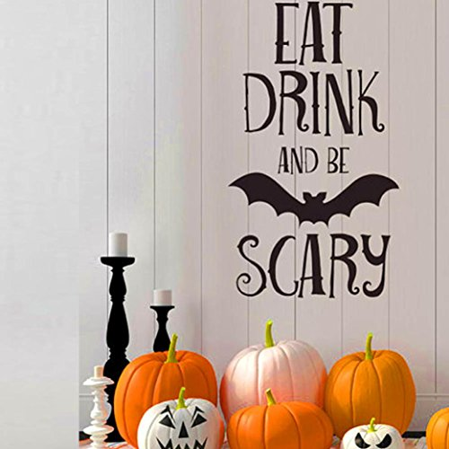 (Clearance Wall Sticker,Han Shi Happy Halloween Be Scary Letters Window Decor Wallpaper (M,)